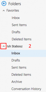 Mailbox Menu with a red box outlining the drop down arrow next to the name Ish Stabosz and marked with the number two