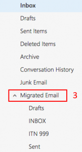 Mailbox Menu with the item Migrated Email enclosed in a red box and marked with the number three