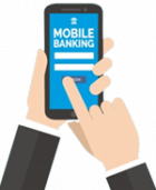 Hands holding Smart Phone with Bank App